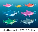 family shark set of colorful... | Shutterstock .eps vector #1261475485