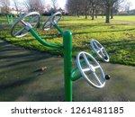line green new outdoor gym... | Shutterstock . vector #1261481185