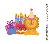 cute and little lion with party ... | Shutterstock .eps vector #1261499725