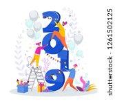 little people line up large... | Shutterstock .eps vector #1261502125