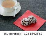 fresh baked chocolate crinkle... | Shutterstock . vector #1261542562