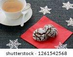 fresh baked chocolate crinkle... | Shutterstock . vector #1261542568