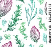 seamless pattern with herbs.... | Shutterstock .eps vector #1261558348