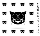 enamored cat icon. cat smile... | Shutterstock . vector #1261578325