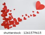 beautiful paper red hearts on...   Shutterstock . vector #1261579615