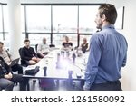 business man making a... | Shutterstock . vector #1261580092