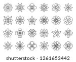 abstract flower thin line icons ...