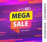 yellow pink tag mega sale 60... | Shutterstock .eps vector #1261660615