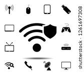 wi fi with shield icon. simple...