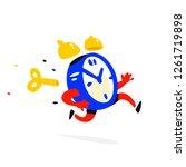 cartoon character running alarm ... | Shutterstock .eps vector #1261719898