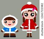 two cute little kids in winter... | Shutterstock .eps vector #1261722382