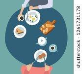 family dinner top view... | Shutterstock .eps vector #1261731178