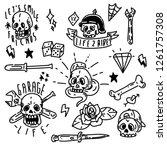 greaser skull tattoo bundle art | Shutterstock .eps vector #1261757308
