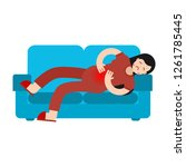 pms menstrual pain girl on sofa.... | Shutterstock .eps vector #1261785445