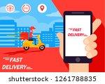 delivery man ride bike get... | Shutterstock .eps vector #1261788835