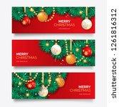 christmas banner with elegant...   Shutterstock . vector #1261816312