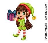 cute playful christmas elf. ...   Shutterstock .eps vector #1261827325