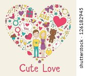 valentines day icon set in... | Shutterstock .eps vector #126182945