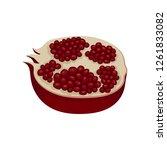 half of ripe pomegranate full... | Shutterstock .eps vector #1261833082