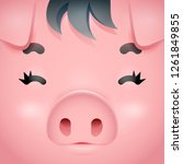 swine cute pig square character ... | Shutterstock .eps vector #1261849855