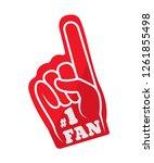 sports fun red glove of fan.... | Shutterstock .eps vector #1261855498