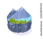 isometric 3d island game  with... | Shutterstock .eps vector #1261855525