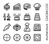 cake icon set vector and... | Shutterstock .eps vector #1261861132