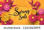 spring sale banner with leaf... | Shutterstock .eps vector #1261863895