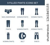 pants icons. trendy 9 pants... | Shutterstock .eps vector #1261865155