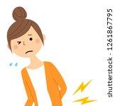 it is a young woman of backache.   Shutterstock .eps vector #1261867795