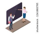 teacher standing near... | Shutterstock . vector #1261883785