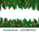 red balls on green spruce... | Shutterstock .eps vector #1261887622