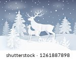 nature at night with deer and... | Shutterstock .eps vector #1261887898