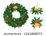 pine tree arranged in circle... | Shutterstock .eps vector #1261888072