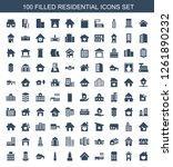 100 residential icons. trendy... | Shutterstock .eps vector #1261890232
