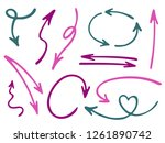 hand drawn diagram arrow icons... | Shutterstock .eps vector #1261890742