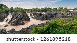 lee pee waterfall in champasak  ...   Shutterstock . vector #1261895218