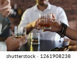 group of friends drinking... | Shutterstock . vector #1261908238