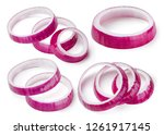 onion slice rings isolated on... | Shutterstock . vector #1261917145
