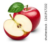 apple with leaves isolated on... | Shutterstock . vector #1261917232