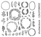 big wreath and plants... | Shutterstock .eps vector #1261928032