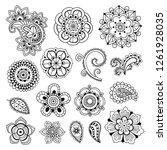 mehndi and mandala vector... | Shutterstock .eps vector #1261928035