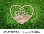 paper cut of eco concept on... | Shutterstock . vector #1261968082
