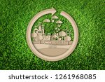 paper cut of eco concept on... | Shutterstock . vector #1261968085