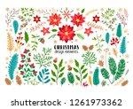 christmas floral cartoon set of ... | Shutterstock .eps vector #1261973362