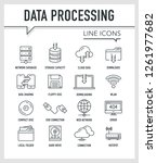 data processing line icons | Shutterstock .eps vector #1261977682