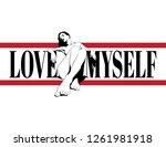 love myself. vector hand drawn... | Shutterstock .eps vector #1261981918