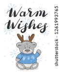warm wishes. festive card with... | Shutterstock .eps vector #1261993765