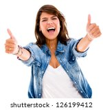 excited woman with thumbs up  ... | Shutterstock . vector #126199412