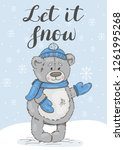 let it snow. festive card with... | Shutterstock .eps vector #1261995268